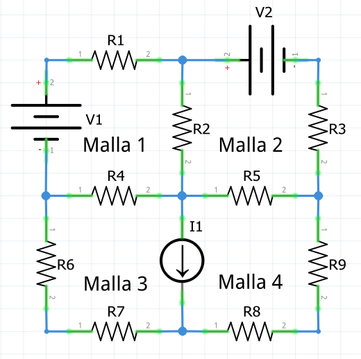 Teorema de mallas. Ejemplo circuito con 4 mallas