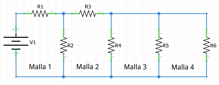 Análisis de mallas. Ejemplo circuito con 4 mallas