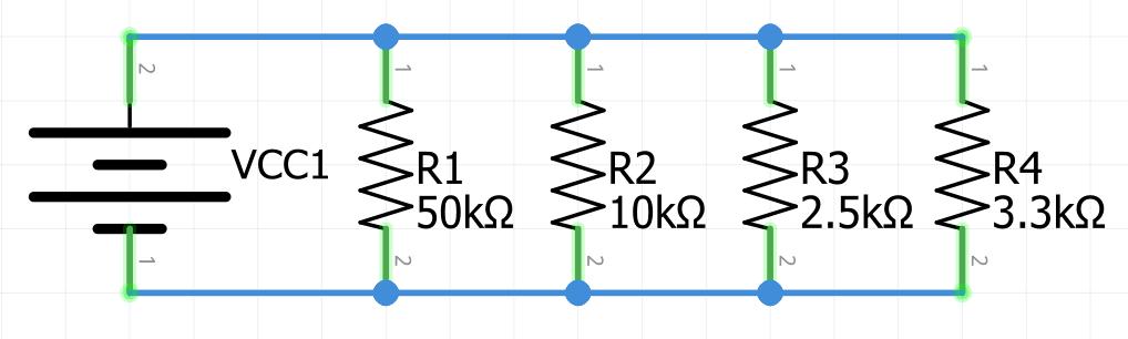 Ejemplo resistencia equivalente circuito en paralelo