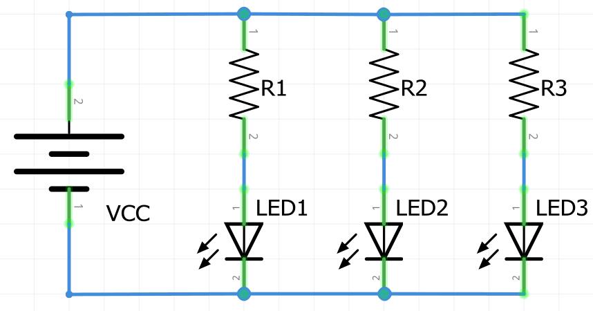 LEDS y resistencias conectados en paralelo