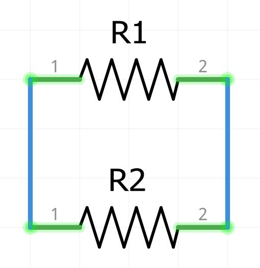 Conexión en paralelo de dos resistencias