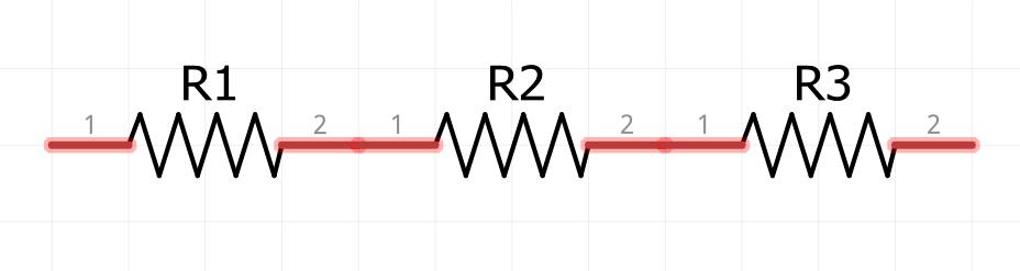 Conexión en serie de tres resistencias