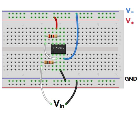 conectar circuito de un amplificador inversor