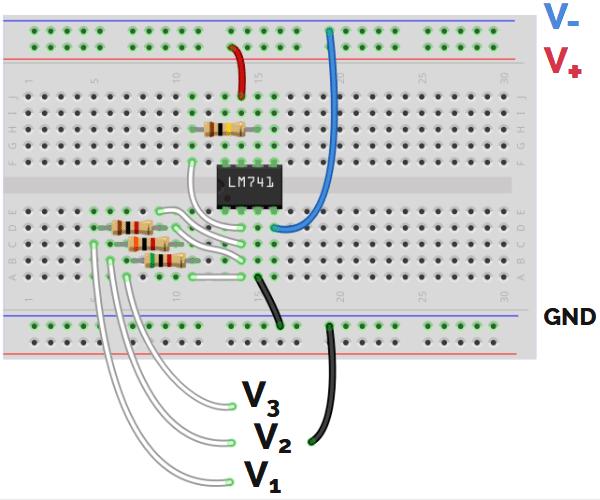 Conexión proto amplificador sumador inversor